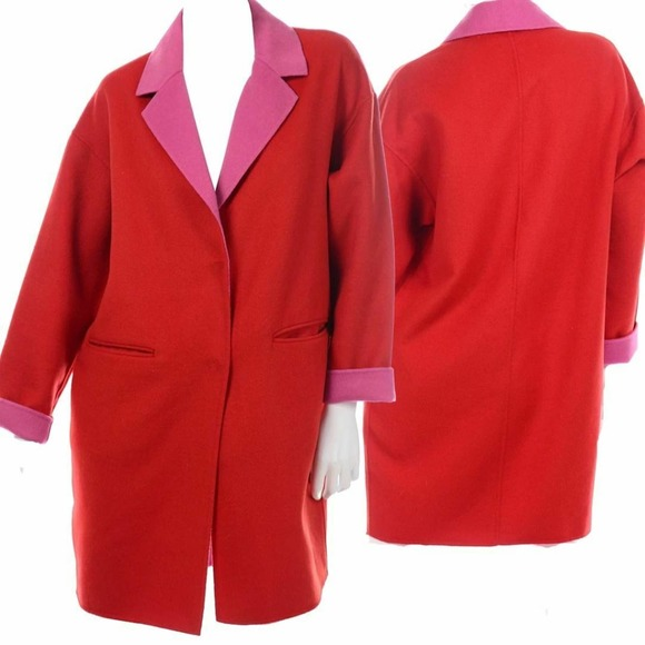 Kate Spade Double Face Coat Medium Wool Red Pink
